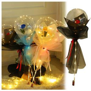 الصمام بالون مضيئة روز باقة شفافة بوبو الكرة روز عيد الحب عيد حفل زفاف الديكور بالونات لعب الاطفال