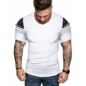 Tshirts Color sólido Impreso de manga corta Cremallera Design Tops Mens 2020 Luxury Designer Ropa Summer Mens Designer