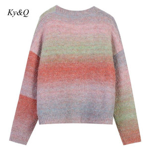 2020 New Gradient Sweater Coat New Trend Soft Mohair Cardigan Lazy V-Neck Runway Designer Single-Breasted Long Sleeve Jacket