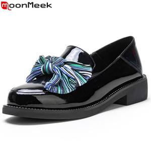 MoonMeek 2020 hot sale pumps women shoes round toe shallow med heels shoes cow patent leather butterfl goadiator