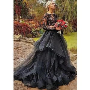 Modesto preto gótico dois pedaços vestidos de casamento jóia ilusão de garganta superior de manga cheia capela vestido de casamento camadas vestido nupcial país