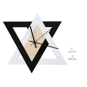 BESTNordic Style Wall Clocks Black and White Creative Wall Clock Bedroom Home Decor Silent Wooden Clock for Living Room