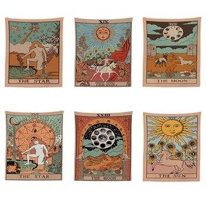 150 * 100 cm Mandala Tarot Patrón Manta Manta Tapicería Tapas Colgantes Tapices Dormitorio Colcha Tiro Tirado Sun Moon Decoración de la pared 112