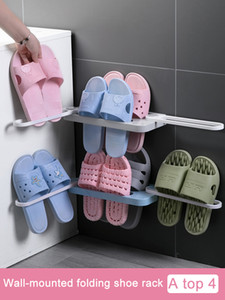 Bathroom Slippers Rack Wall Mounted Shoe Organizer Rack Folding Slippers Holder Shoes Hanger Self Adhesive Storage Towel Racks Y1128