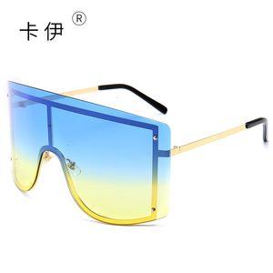 Yeni Büyük Çerçeve Güneş Gözlükleri İnternet Ünlü Moda Rüzgar Geçirmez Tek Parça Goggles Renkli Çerçeve