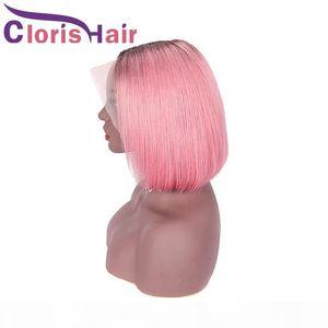 13x4 Cierre Bob Wig Pink Ombre Straight Malassian Remy Despliewless Lace Wigs Front Shigs para mujeres negras Color Pink Pixie Cut Human Hair Bob Wig