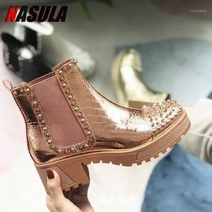 Nasula 2021 Mujeres Botas de tobillo Redondo Toe PU Cuero Todo Match Square High High High Fashion Winter Shoes Boots1