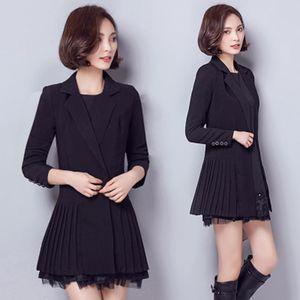 Blazer Feminino Black Suit Jacket Female Office Ladies Blazer Pleated 2020 Spring Autumn Long Sleeve Blaser Casual Work BL21