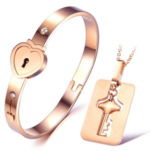 316L Stainless Steel Lovers Heart Lock Diamond Bangles Key Pendant Necklace Couple Jewelry Set Lover's Valentine's Day Wedding Birthday Gift