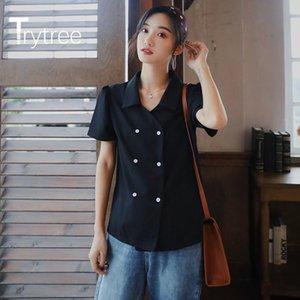 Trytree 2021 verão mulheres casuais blusa colarinho solto moda elegante elegante duplo breasted estilo all-fins blusa tops