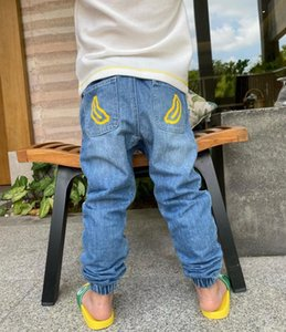 New Autumn Boys Denim Pants Kids Girls Cute Waist Pants Toddler Blue Jeans Solid Colors For Baby trousers