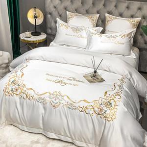 Conjuntos de ropa de cama Conjunto de bordados de lujo Casa de algodón Ropa de cama Pastilla de almohada Cottothes Queen / King Tamaño Imite Funda de seda 4pcs