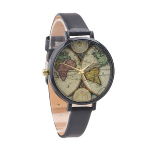 100pcs 5 Colors World Map Watch For Ladies Women Leather Vintage Style Spring Fashion Unique Gifts Watches