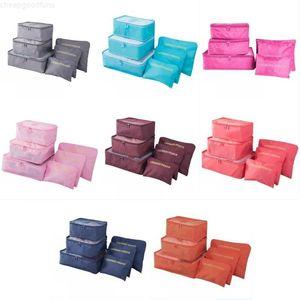 6pcs / Set De Voyage Sac de rangement Vêtements Langage Tidy Pochette Portable Portable Conteneur étanche Suitcase Organisateur Organisateur