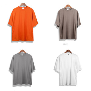 Men kanye west Oversized Blank Tshirt Hip Hop New Short Sleeve Tee Shirts Male Summer Tops Streetwear Plus Size T-Shirts Y0106