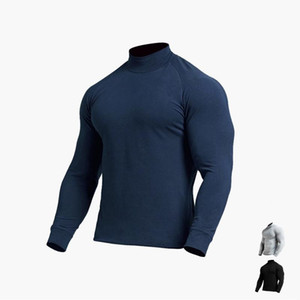 Men's Long-Sleeve Close-Fit Sports Jersey with Collar Thermal Training Football Gym Fitness Base Layer