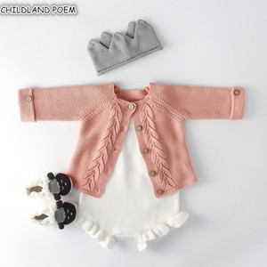 Clothes Autumn knitted Romper Set Infant Newborn Girl Cardigan Boys Sweater Cotton Baby Jumpsuit For Girls 201127