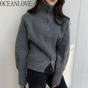 Oceanlove Turtleneck Hırka Katı Tek Göğüslü Katı Vintage Kore Kadın Kazak Fener Kol Mujer Chaqueta 191411
