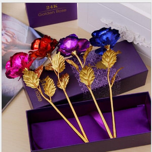 Eco-Friendly Birthday Wedding gif,24k Manual Golden Rose Lover's Dipped Rose,Artificial Flower Gold Painted Decoration DHE2