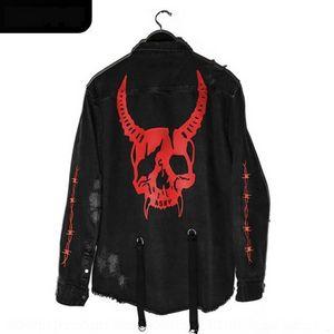 roBAK Men's autumn and jacket winter men's Denim coat fashion brand skull head large size multi pocket jacket man