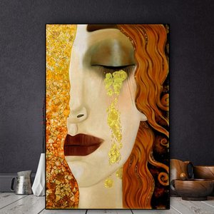 Art Gustav Klimt Golden Tears And Kiss Oil Painting on Canvas Posters and Prints Cuadros Wall Art Pictures For Living Room