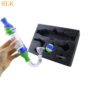 glass water pipe 5 in 1 silicone smoking pipes set silicone bongs shisha smoking bong dabs rig thick glass filter bubbler Hookah Retail