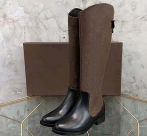 (GRATIS DHL) Moda Otoño Zapatos de invierno Mujer Cuero Knee High Knight Boots Metal Hebilla Tacones redondos Talones Mujeres Botas EU: 35-42 SHOE02 PL01