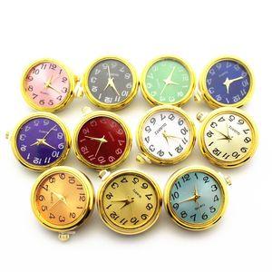 Novas Misturas Chegadas 10 Pçs / Lot Gold Plating Glass Watch Botões de Snap Fit 18mm / 20mm Mulheres Homens Snap Pulseira Pulseira DIY Jóias Y1119