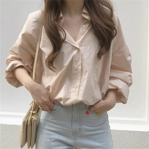 HziriP Pink Streetwear Chic Fashion New Gentle Office Lady 2020 Elegance Women Basic All Match Comfortable Brief Solid Shirts