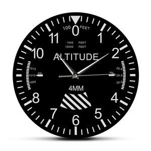 Altimeter Wall Clock Tracking Pilot Air Plane Altitude Measurement Modern Wall Watch Classic Instrument Home Decor Aviation Gift Q1124