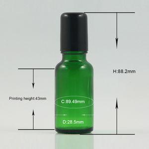 Luxury green glass bottle with balck lids 20ml, cosmetic plastic roller ball bottles 20ml