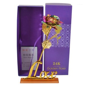 Gold Rose Flower Golden with Box Valentine's Day Creative Gift 24K Foil Plated Rose Gold Lasts Forever Love Wedding Decor1