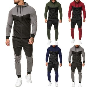 Hommes SweatSuits Contraste Couleur Mens Tracksuits 2020fw Veste + Joggers en cours d'exécution des vêtements de sport pour hommes