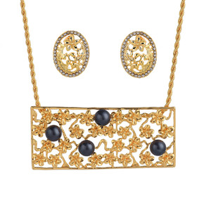 Jewelry Set of Fashion Holiday Zinc Alloy Earrings Dangling Flower Drop Oval Stud Yellow Hawaiian Jewelry Sets For Women Gifts