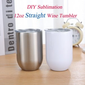 DIY Sublimation Wine tumbler 12oz Straight Wine Glasses Stainless Steel Egg Cups Stemless Wine Glasses Shatterproof Vacuum Egg Shape