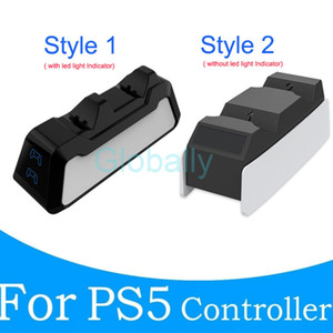 Charging Dock Station for PS5 Game Controller Dual Ports Charger for PS5 Wireless Controllers Playstation 5 Gamepad Handle with LED Option