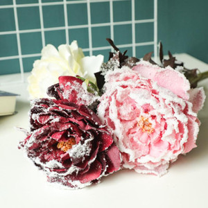 3Pcs Simulation Christmas Snow Peony Artificial Flowers for Home Decoration Flower Wall Wedding Background Fake Flower Peonies