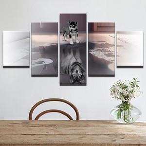 HD Baskılı Boyama Tuval Büyük Hayvan Köpek Ev Dekor Duvar Sanatı 5 Panel Kurt Modüler Resimler Oturma Odası Poster Çerçevesi için
