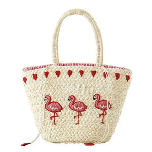 Women's Straw Handbag Flower Woven Summer Beach Messenger Tote Bag Basket Shopper Purse