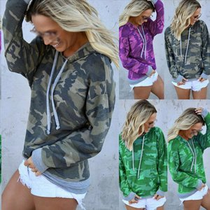 Women fall casual street wear trendy shirt style long sleeved camouflage hoodie sweatshirt for ladies Drop Shipping