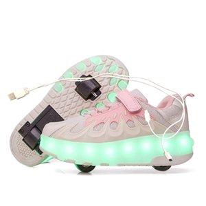 Спортивная открытый белый черный USB зарядки моды девочек мальчики светодиодные роликовые коньки обувь для детей детские кроссовки с колесами два