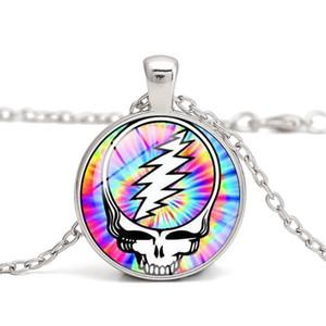 Гратательное мертвое ожерелье череп кулон ожерелья украсть ваше лицо череп музыки поклонников подарка сувенир стекло кабошон пользовательские картинки DIY ювелирные изделия 2021