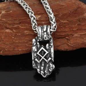 Stainless steel Nordic Viking Amulet odin symbol Rune Necklace with valknut gift bag