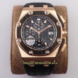 JF v2 Nuevo Juan Pablo Montoya 26030 Fibra de carbono Bezel Cal.2840 A2840 Chronograph automático Reloj para hombre TEXTURA NEGRA Dial Dial Oro de rosa