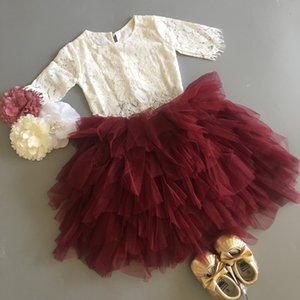 New Baby Girls Lace Clothing Set For Xmas Kids Petti Skirt +Lace Shirt Sweet Flowers Toddler 2Pcs Outfit Child Party costume Y1113