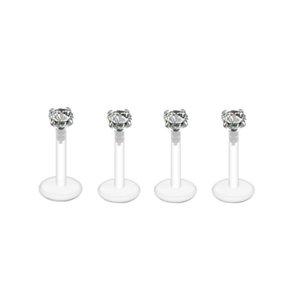 Acrylique acrylique le plus récent acrylique labard bar lèvre anneau bague transparente corps piercing bijoux nez bague feuille bague édhoh