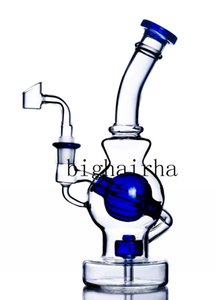 Blue Feb Egg Tall Beaker Bong Dab Rig Glass Water Pipe Oil Burner Smoking Pipes Thick Base Bong Showerhead Perc With 14MM Male Joint Banger