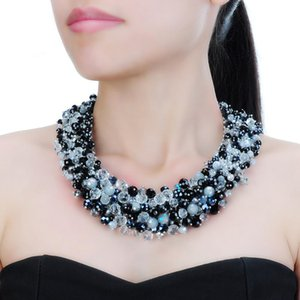 3 Colors Fashion Jewelry Chain Rhinestone Crystal Choker Statement Bib Necklace Big Choker Women Party Accessories Lady Gift F1202