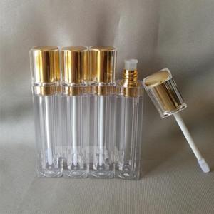 500pcs / lot Forma quadrata a forma di labbro tubo lucido con argento / oro Cap rossetto Bottiglia di imballaggio del rossetto, contenitore di alta qualità del labbro vuoto