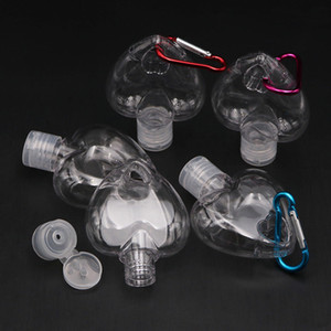 Coração em forma de 50ml Garrafa Gancho Portable Plástico Dispensando Vazio Anel Chave Garrafa Sanitizador Garrafa Gancho Gancho Chaveiro Portador BWA2682